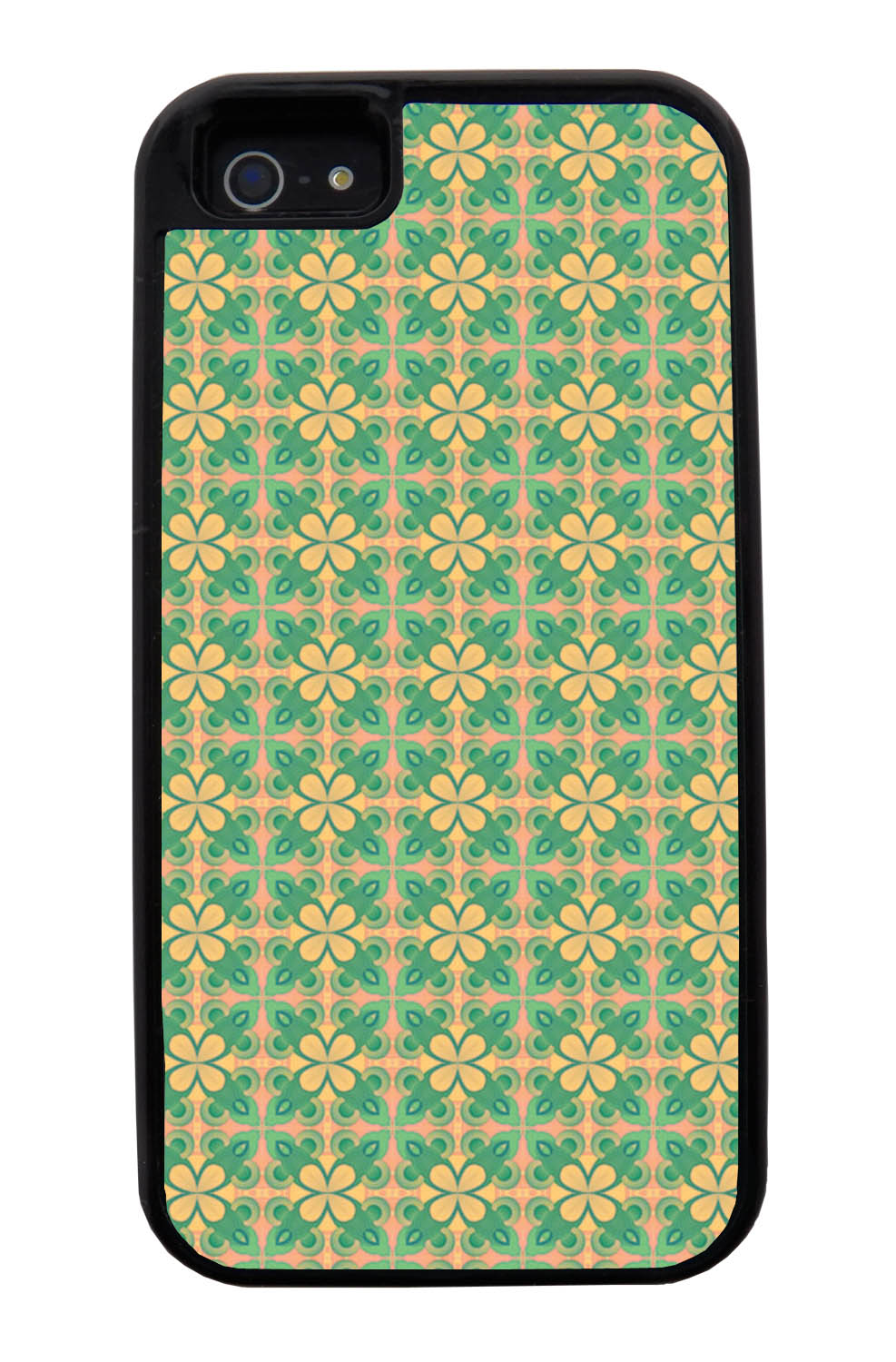 Apple iPhone 5 / 5S Abstract Case - Green and Yellow - Flower Petal Like - Black Tough Hybrid Case