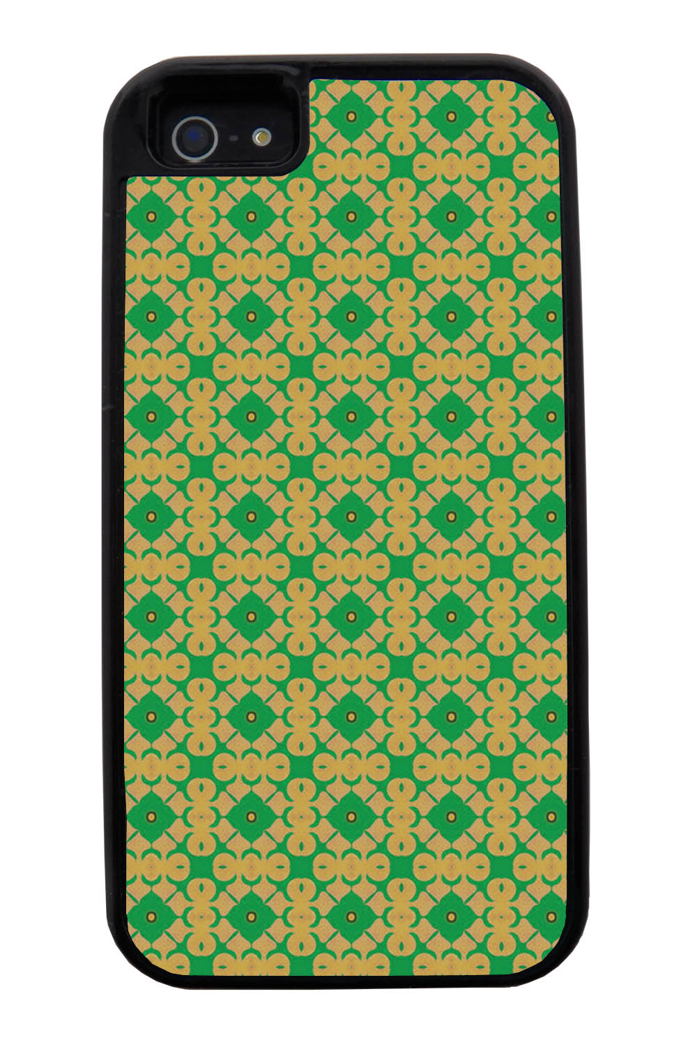 Apple iPhone 5 / 5S Abstract Case - Green and Gold - Flower Petal Like - Black Tough Hybrid Case
