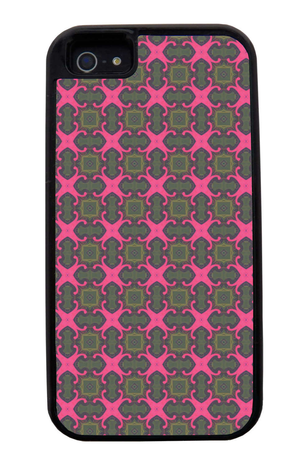 Apple iPhone 5 / 5S Abstract Case - Olive Green and Pink - Flower Petal Like - Black Tough Hybrid Case