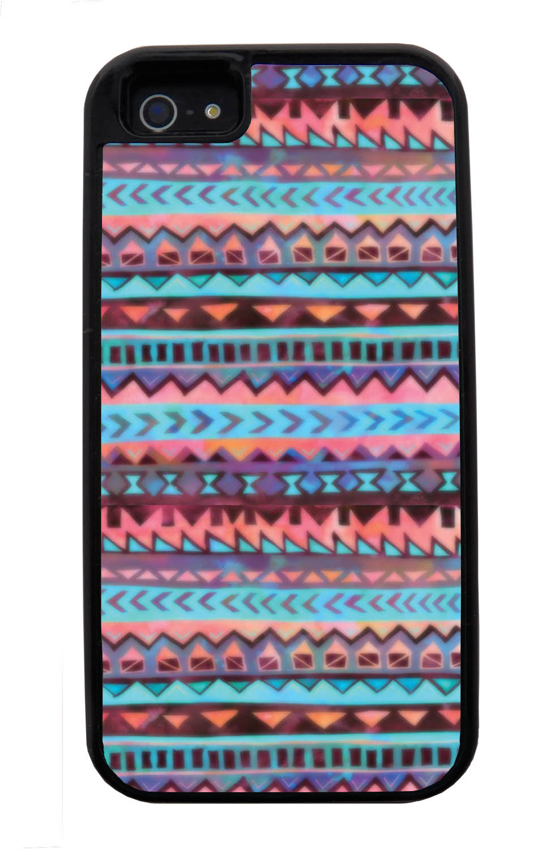 Apple iPhone 5 / 5S Aztec Case - Pink and Purple Traditional - Ceramic Glaze Like - Black Tough Hybrid Case