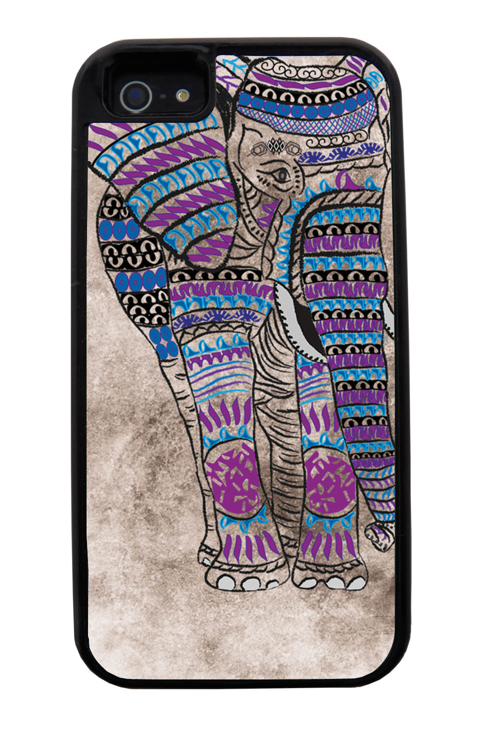 Apple iPhone 5 / 5S Aztec Case - Purple and Blue Charcoal Drawing - Tribal Elephant - Black Tough Hybrid Case