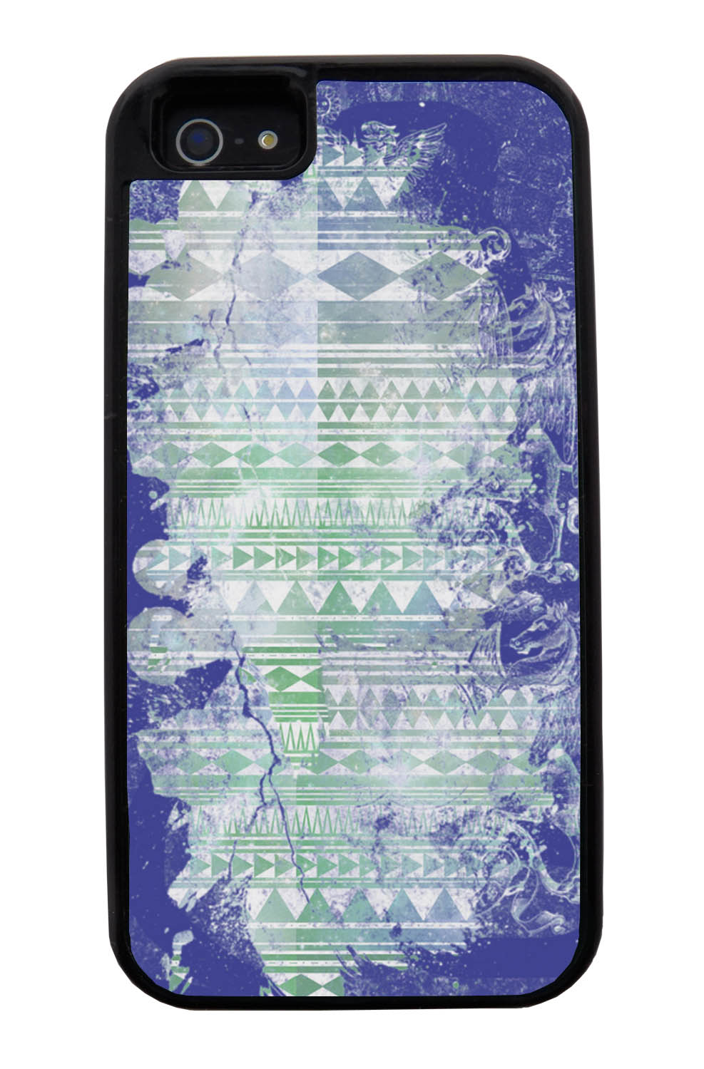 Apple iPhone 5 / 5S Aztec Case - Purple and Off-White Paint with Green - Paint Splatter Overlay - Black Tough Hybrid Case