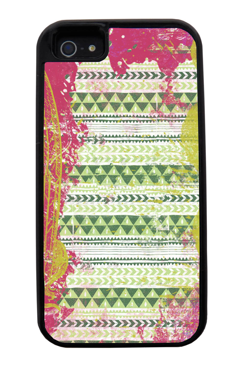 Apple iPhone 5 / 5S Aztec Case - Pink and Yellow Paint with Green - Paint Splatter Overlay - Black Tough Hybrid Case