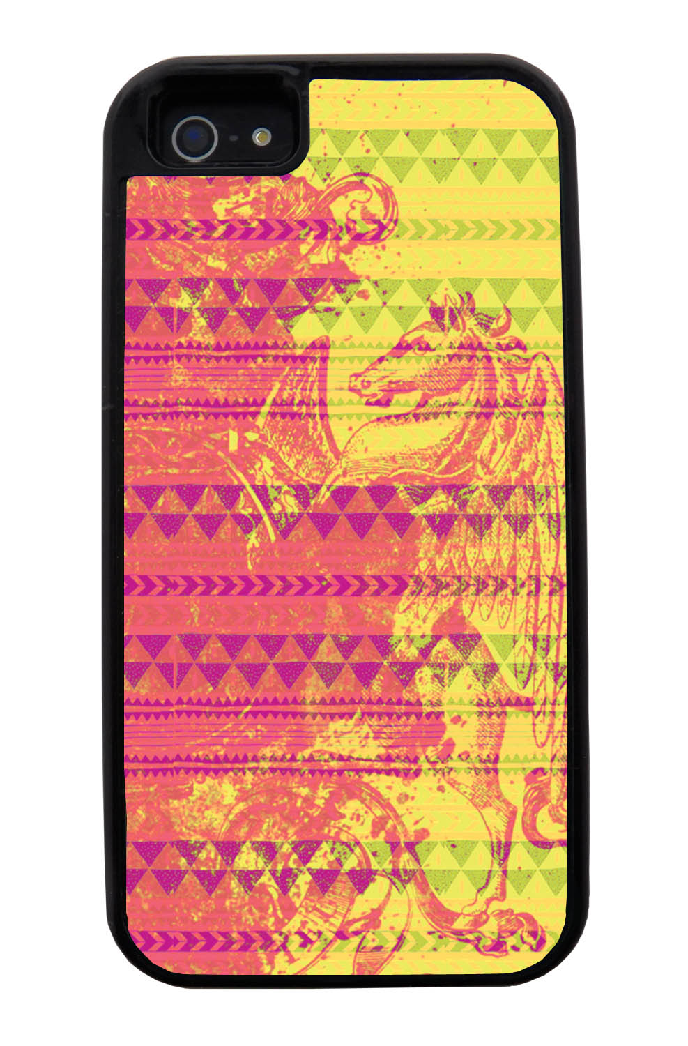 Apple iPhone 5 / 5S Aztec Case - Pink Paint with Hot Pink, Yellow, and Green - Paint Splatter Overlay - Black Tough Hybrid Case