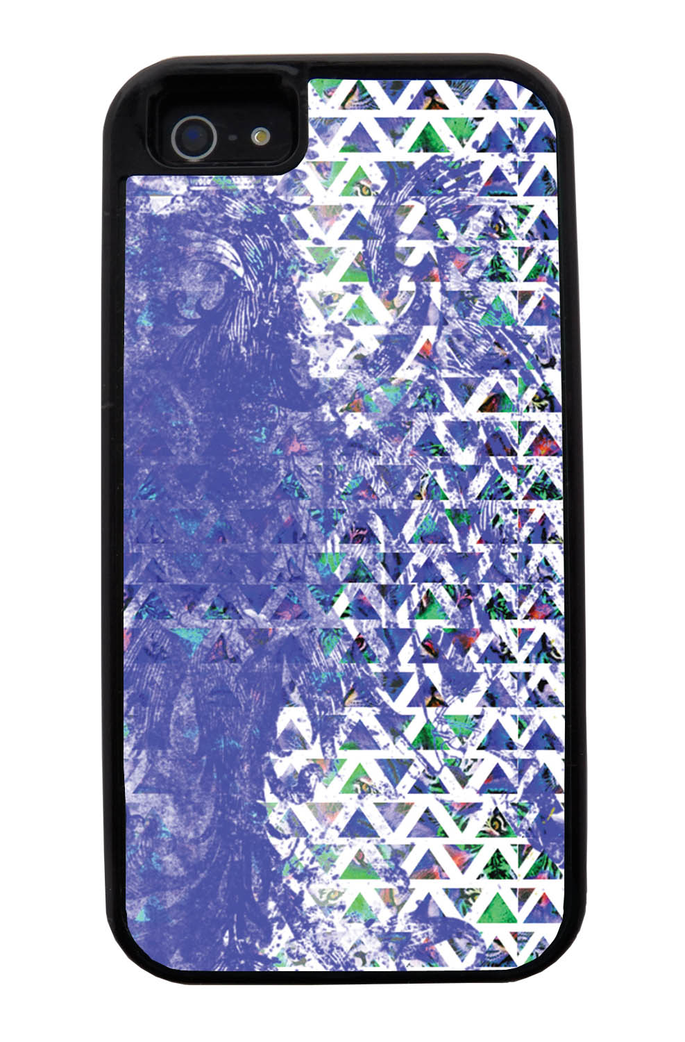 Apple iPhone 5 / 5S Aztec Case - Purple Smear Paint with Green and White - Paint Splatter Overlay - Black Tough Hybrid Case