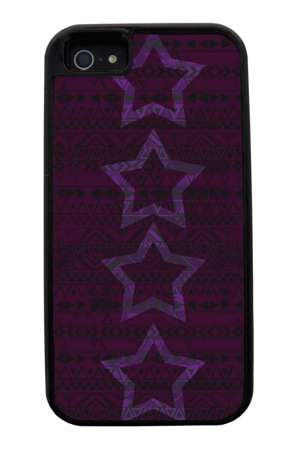 Apple iPhone 5 / 5S Aztec Case - Purple Stars - Geometric - Black Tough Hybrid Case