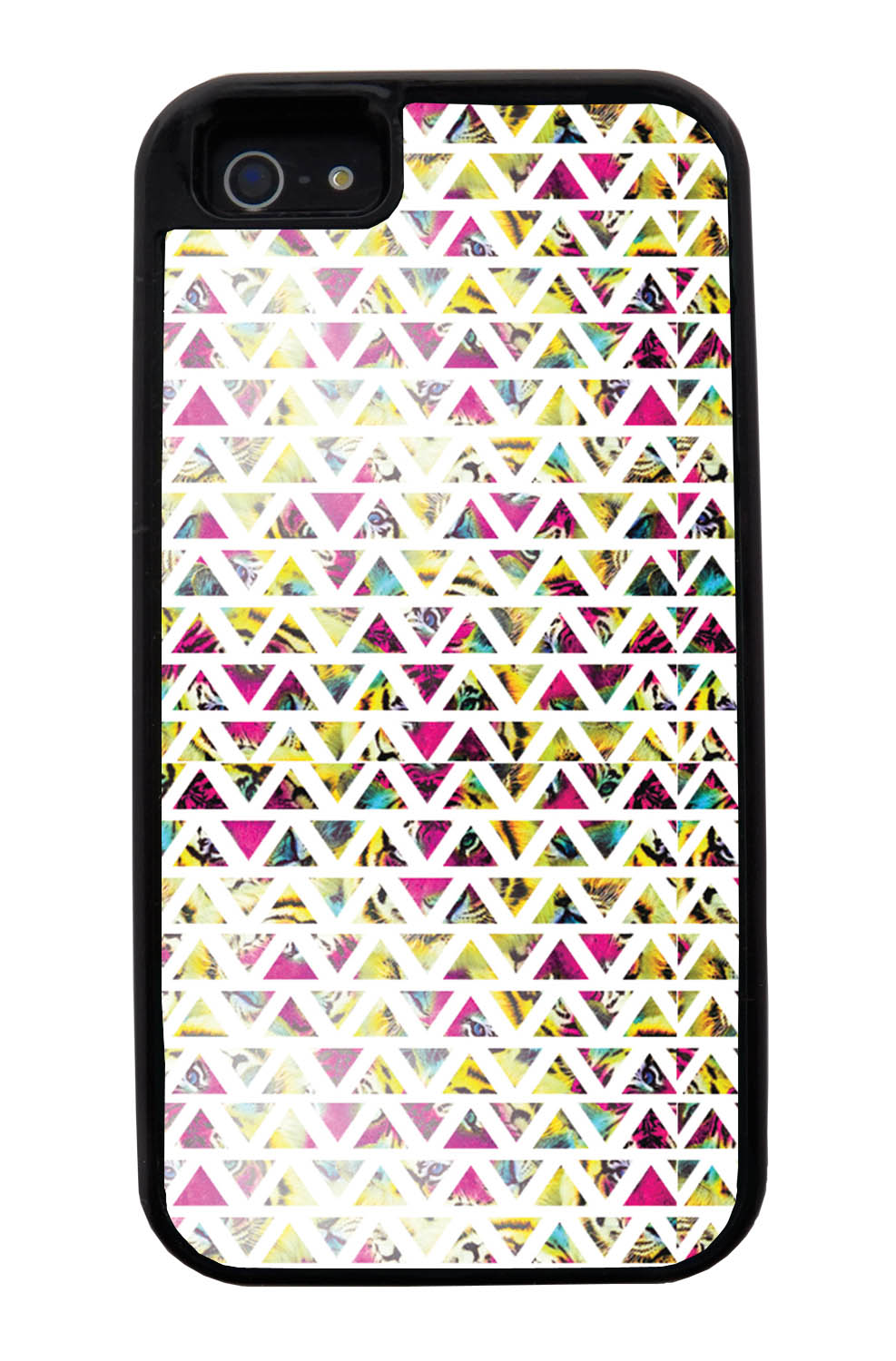 Apple iPhone 5 / 5S Aztec Case - Triangles On Pink Yellow Tiger - Geometric - Black Tough Hybrid Case