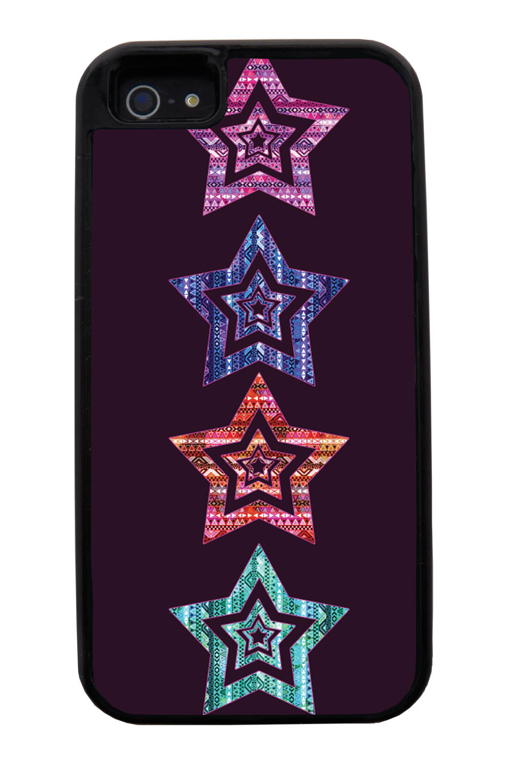 Apple iPhone 5 / 5S Aztec Case - Patterned Stars - Geometric - Black Tough Hybrid Case