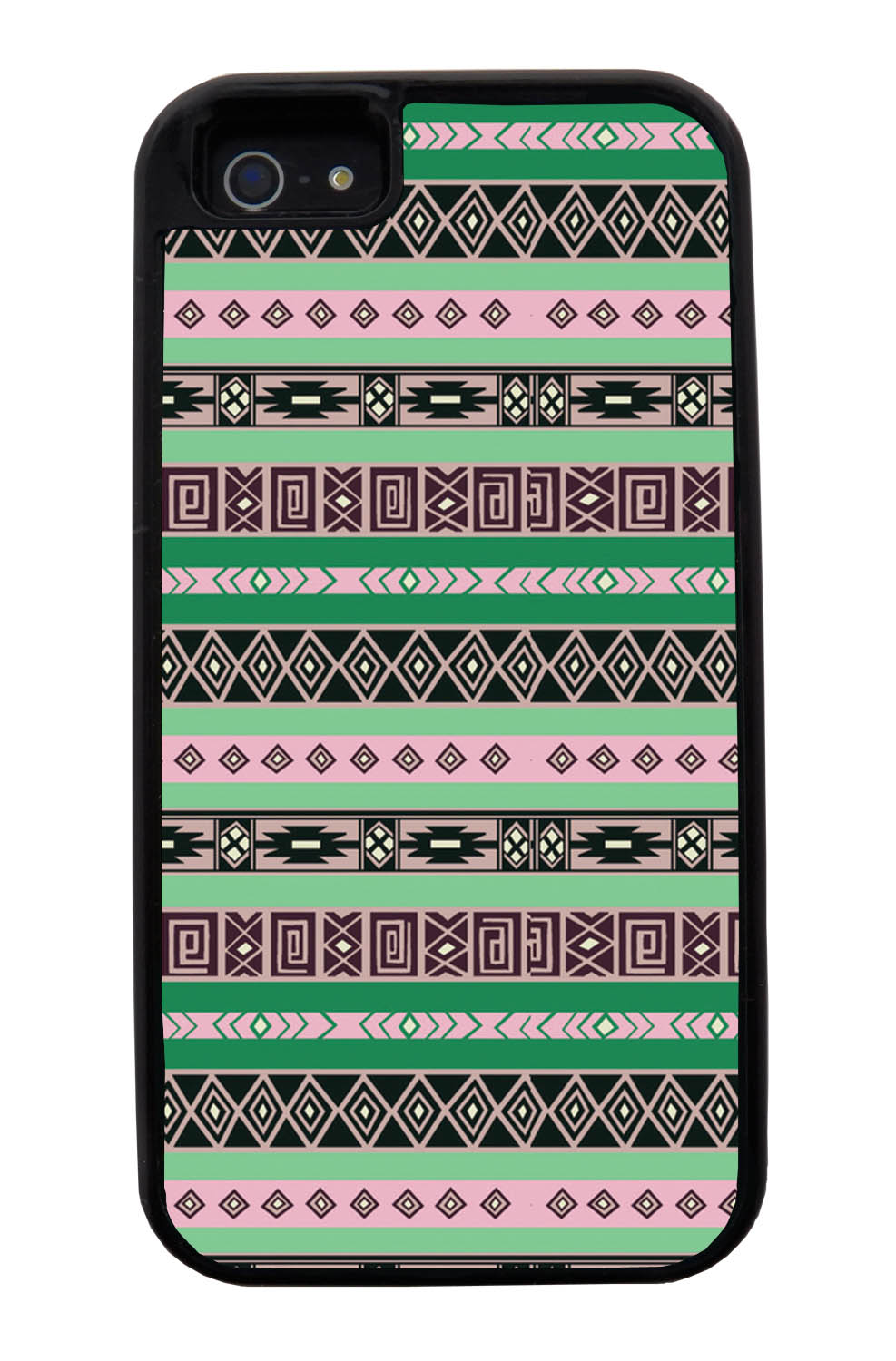 Apple iPhone 5 / 5S Aztec Case - Spring Colored - Geometric - Black Tough Hybrid Case