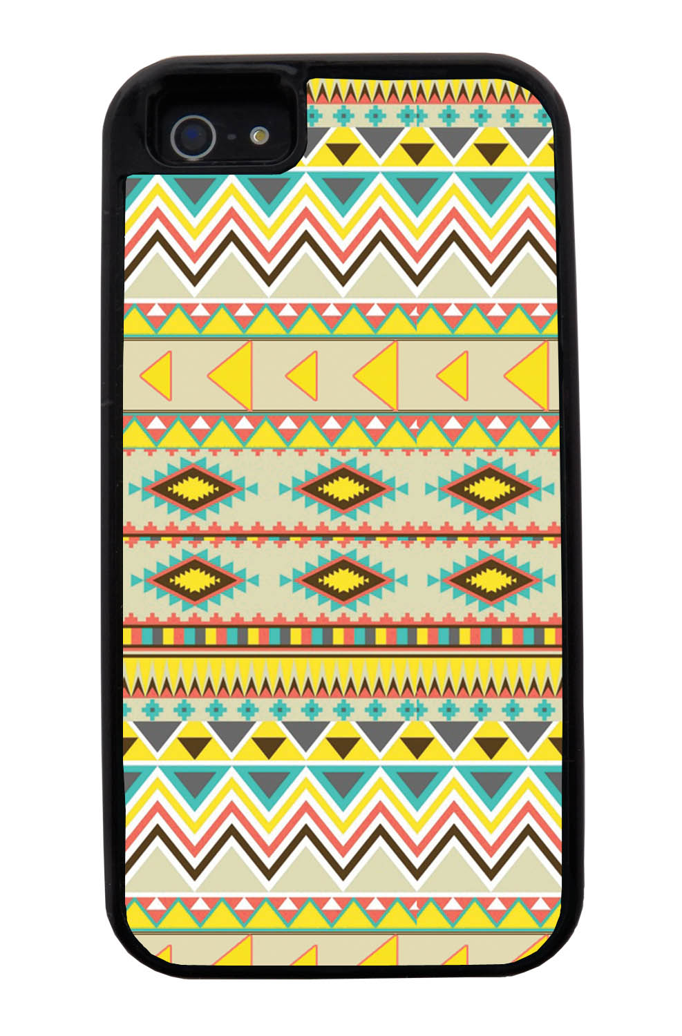 Apple iPhone 5 / 5S Aztec Case - Summer Colored - Geometric - Black Tough Hybrid Case