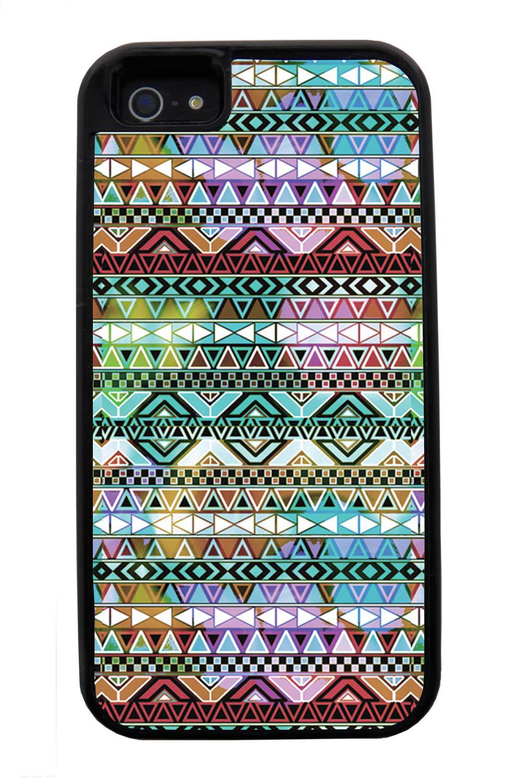 Apple iPhone 5 / 5S Aztec Case - Colorful Neon Lights - Ceramic Glaze Like - Black Tough Hybrid Case