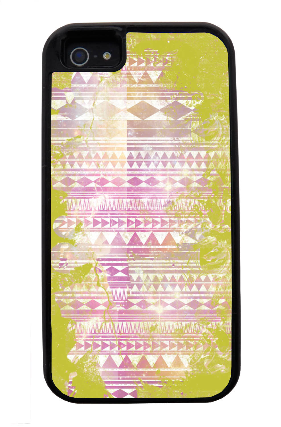 Apple iPhone 5 / 5S Aztec Case - Yellow and White Paint with Pink - Paint Splatter Overlay - Black Tough Hybrid Case