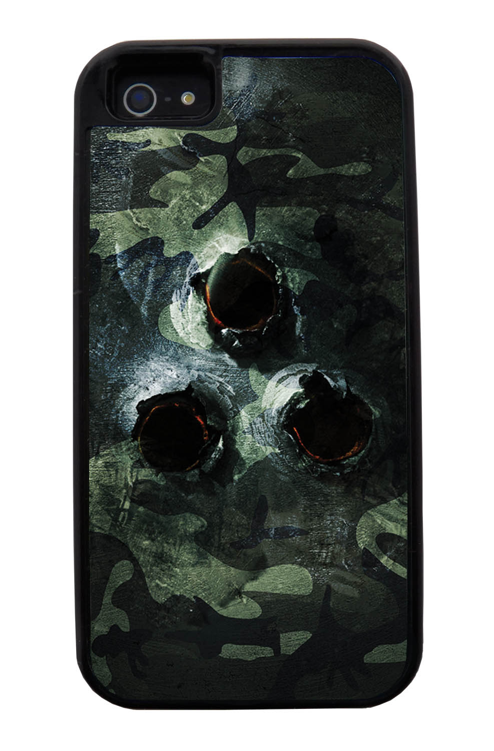Apple iPhone 5 / 5S Camo Case - Metal Bullet Ridden Traditional - Woodland - Black Tough Hybrid Case