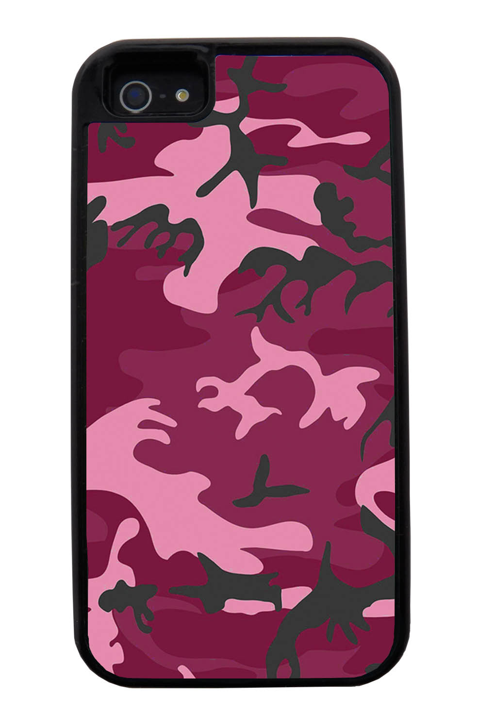 Apple iPhone 5 / 5S Camo Case - Hot Pink - Woodland - Black Tough Hybrid Case