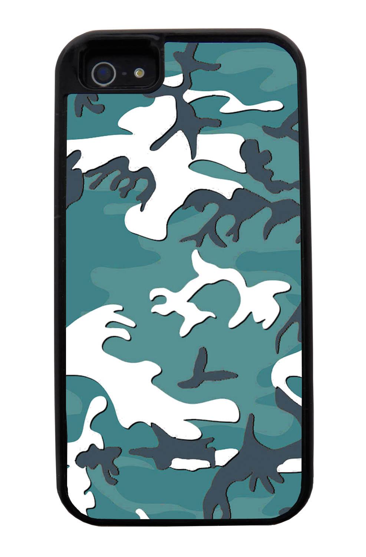Apple iPhone 5 / 5S Camo Case - Oceanic Colors - Woodland - Black Tough Hybrid Case