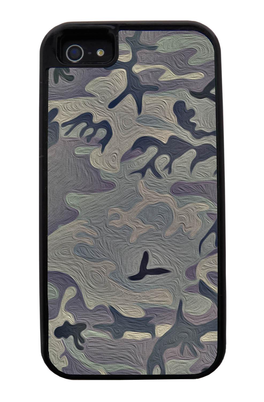 Apple iPhone 5 / 5S Camo Case - Painted Urban Colors - Woodland - Black Tough Hybrid Case
