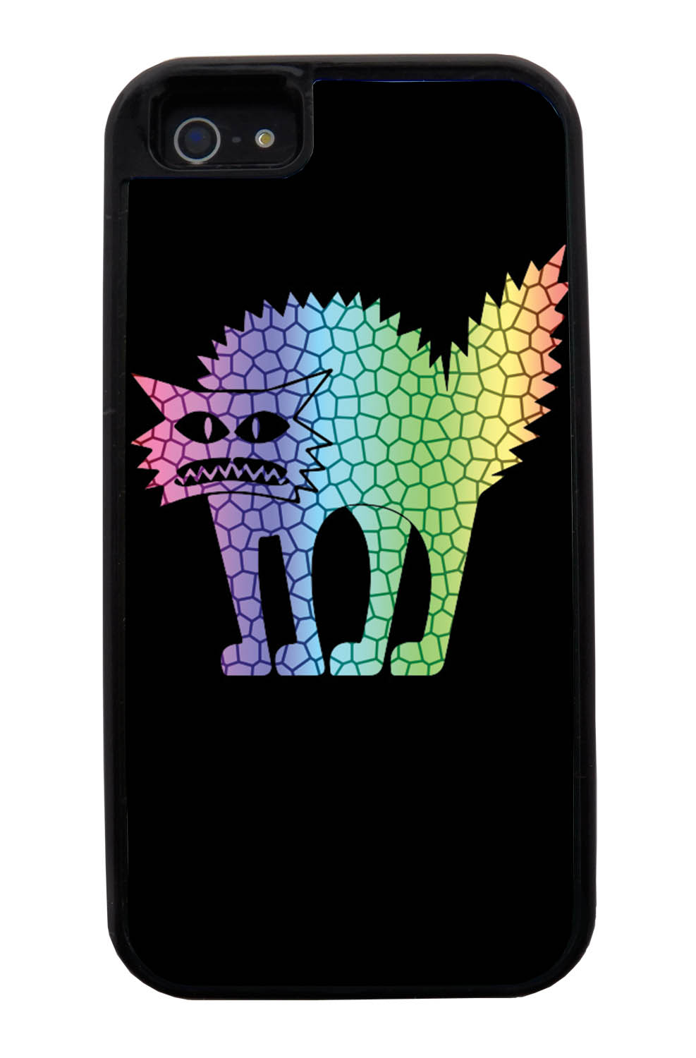 Apple iPhone 5 / 5S Cat Case - Rainbow Colored Frenzied Cat on Black - Simple Stencils Cutout - Black Tough Hybrid Case