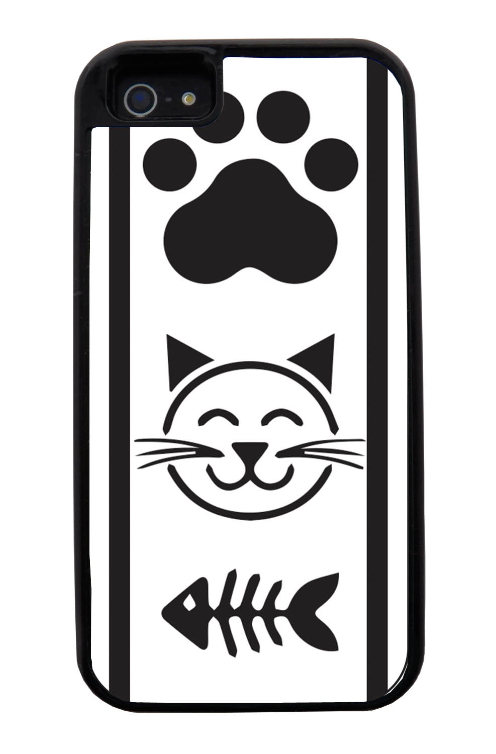 Apple iPhone 5 / 5S Cat Case - Black Cat Icons on White - Simple Stencils Cutout - Black Tough Hybrid Case