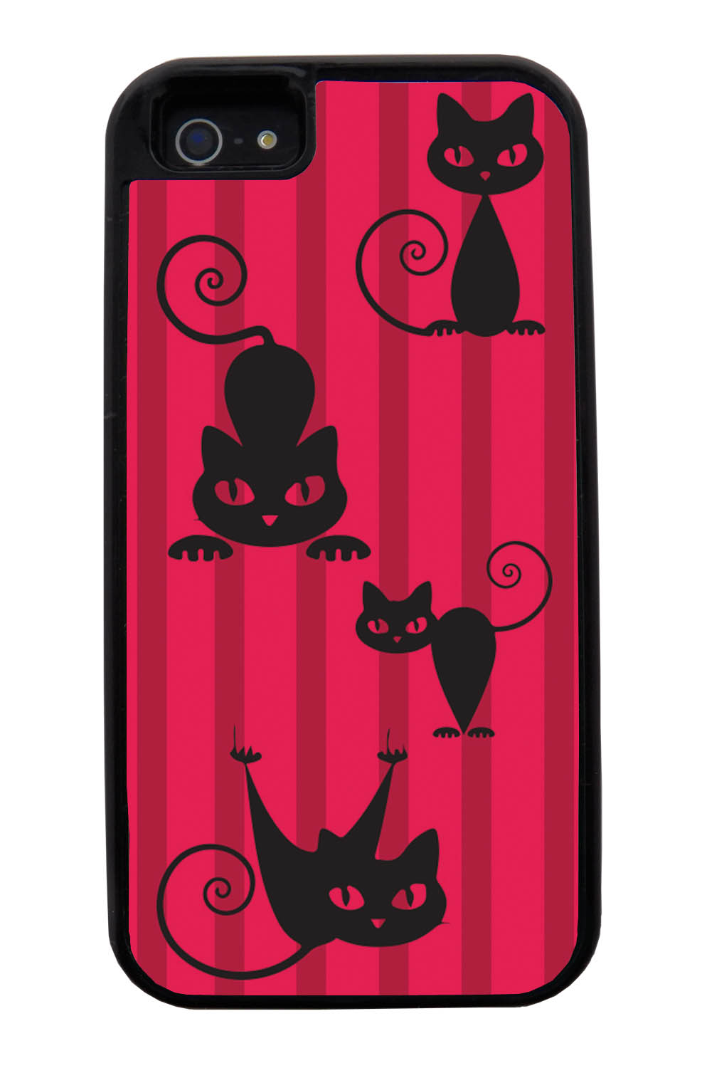 Apple iPhone 5 / 5S Cat Case - Black Cat on Red Stripes - Simple Stencils Cutout - Black Tough Hybrid Case
