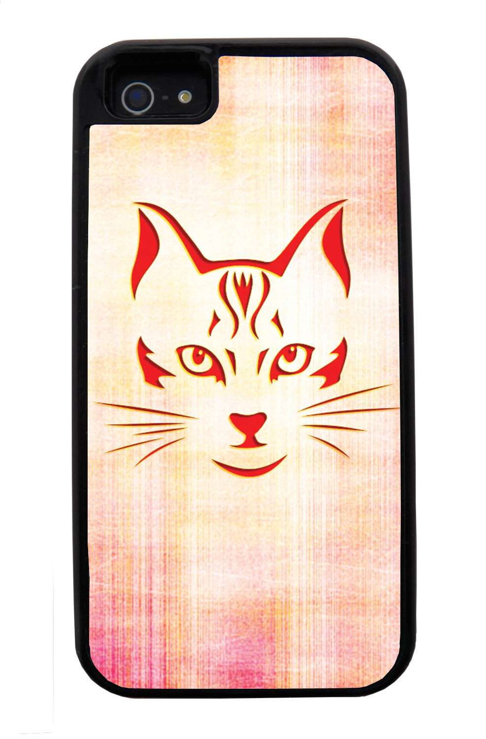 Apple iPhone 5 / 5S Cat Case - Red Cat Face on Light Orange-Pink - Simple Stencils Cutout - Black Tough Hybrid Case