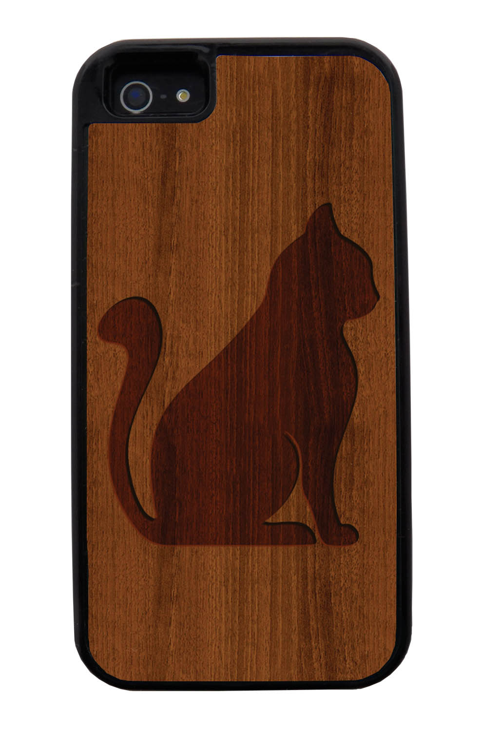 Apple iPhone 5 / 5S Cat Case - Simulated Cherry Wood Engraving Sitting Cat - Simple Stencils Cutout - Black Tough Hybrid Case
