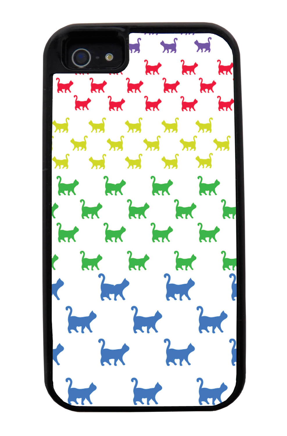 Apple iPhone 5 / 5S Cat Case - Rainbow Colored Walking Cat on White - Simple Stencils Cutout - Black Tough Hybrid Case