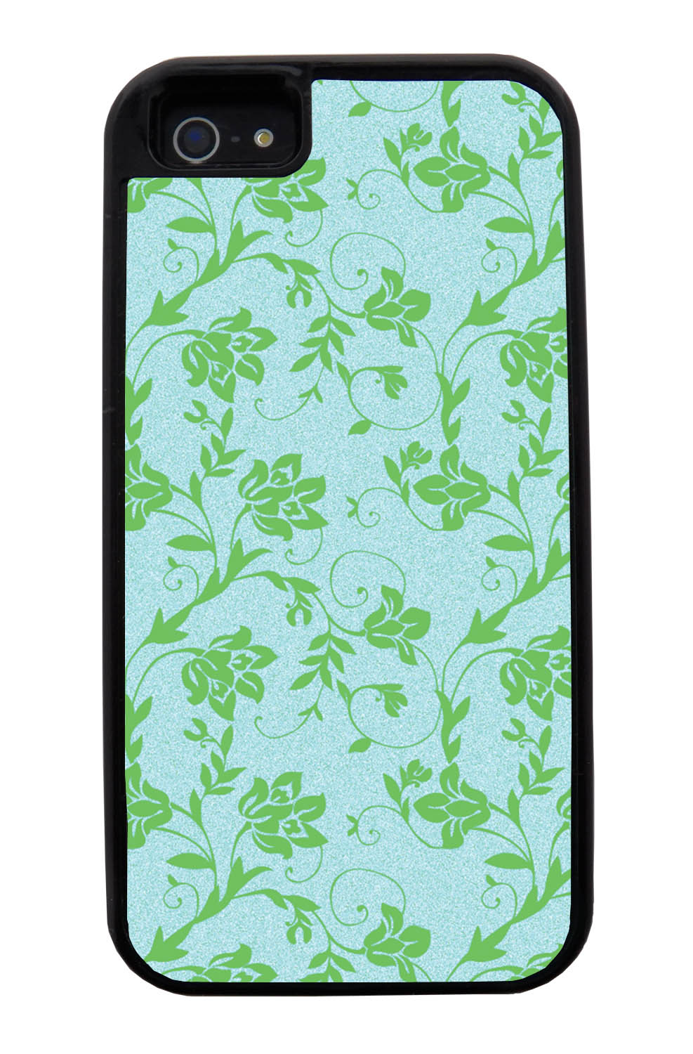 Apple iPhone 5 / 5S Flower Case - Green on Textured Light Blue - Stencil Cutout - Black Tough Hybrid Case