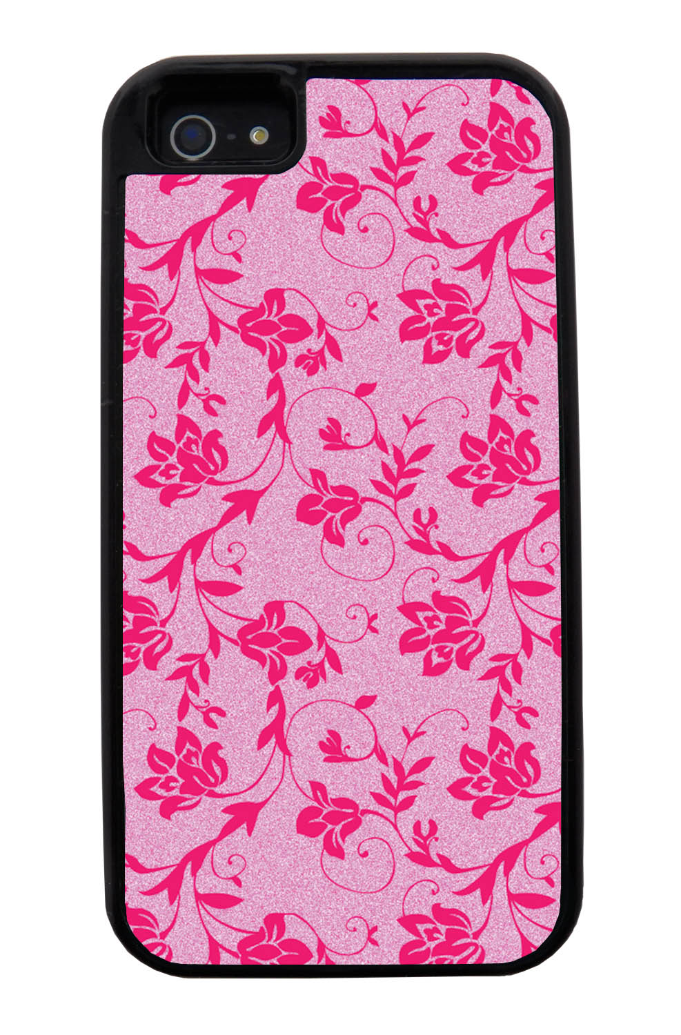 Apple iPhone 5 / 5S Flower Case - Hot Pink on Textured Pink - Stencil Cutout - Black Tough Hybrid Case