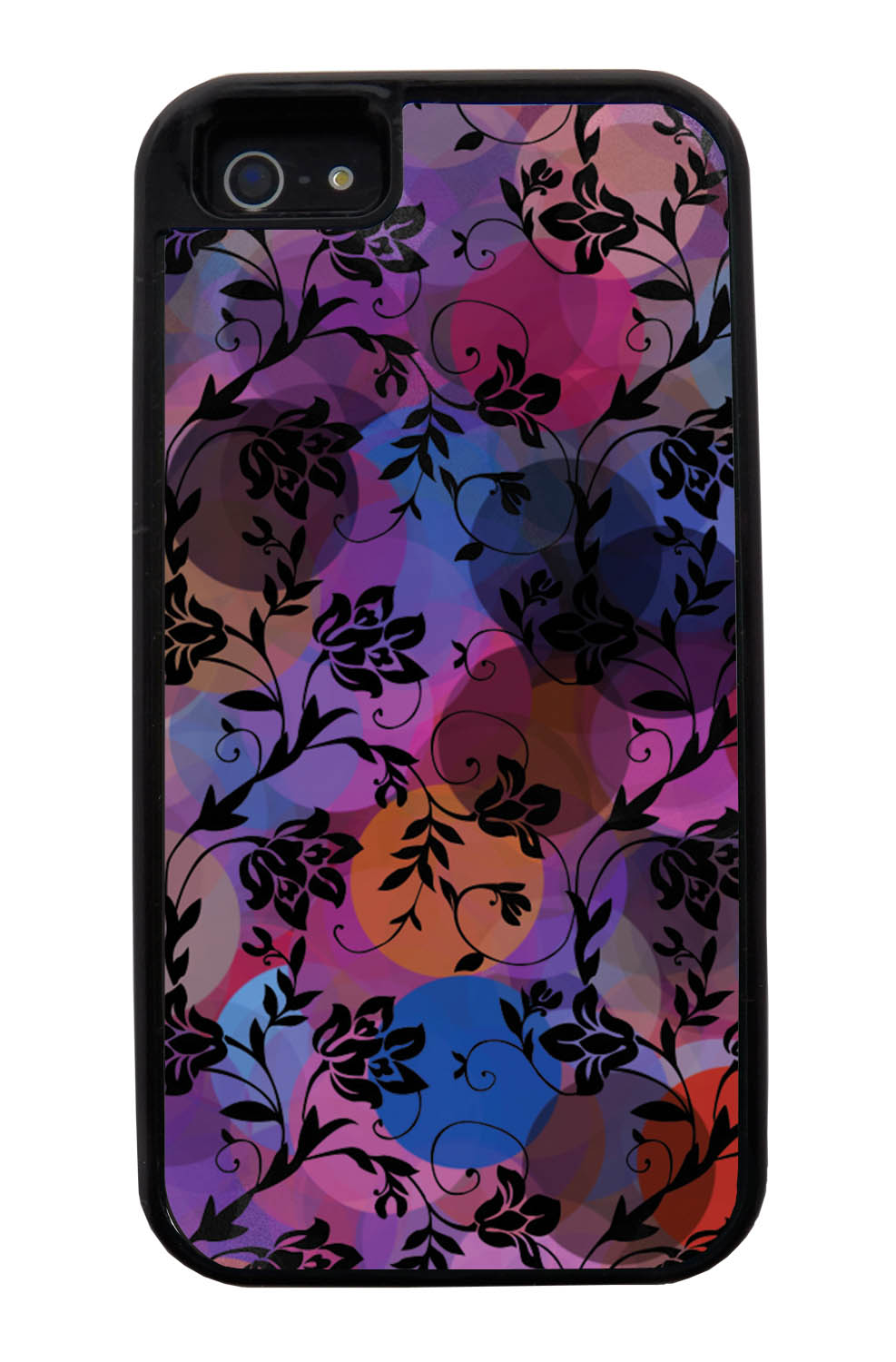 Apple iPhone 5 / 5S Flower Case - Black on Out-of-Focus Night Lights - Stencil Cutout - Black Tough Hybrid Case