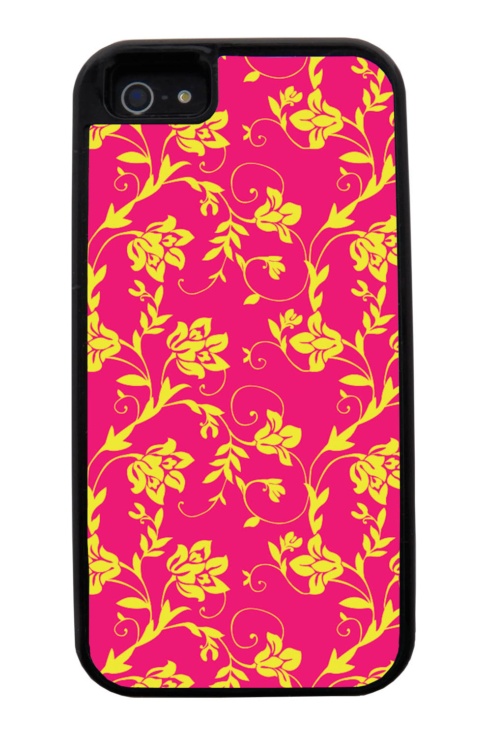 Apple iPhone 5 / 5S Flower Case - Yellow on Hot Pink - Stencil Cutout - Black Tough Hybrid Case