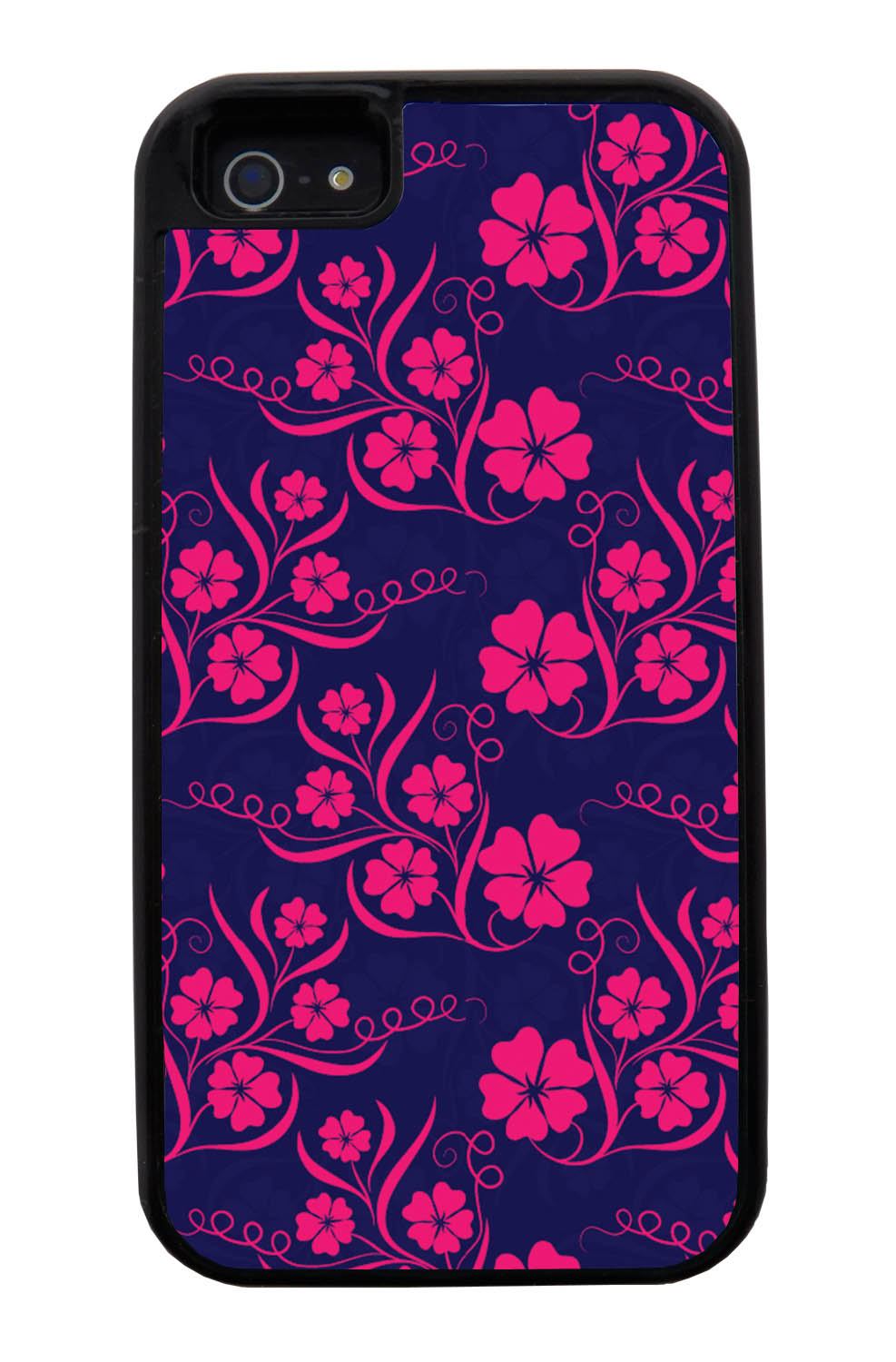 Apple iPhone 5 / 5S Flower Case - Hot Pink on Navy Blue - Stencil Cutout - Black Tough Hybrid Case