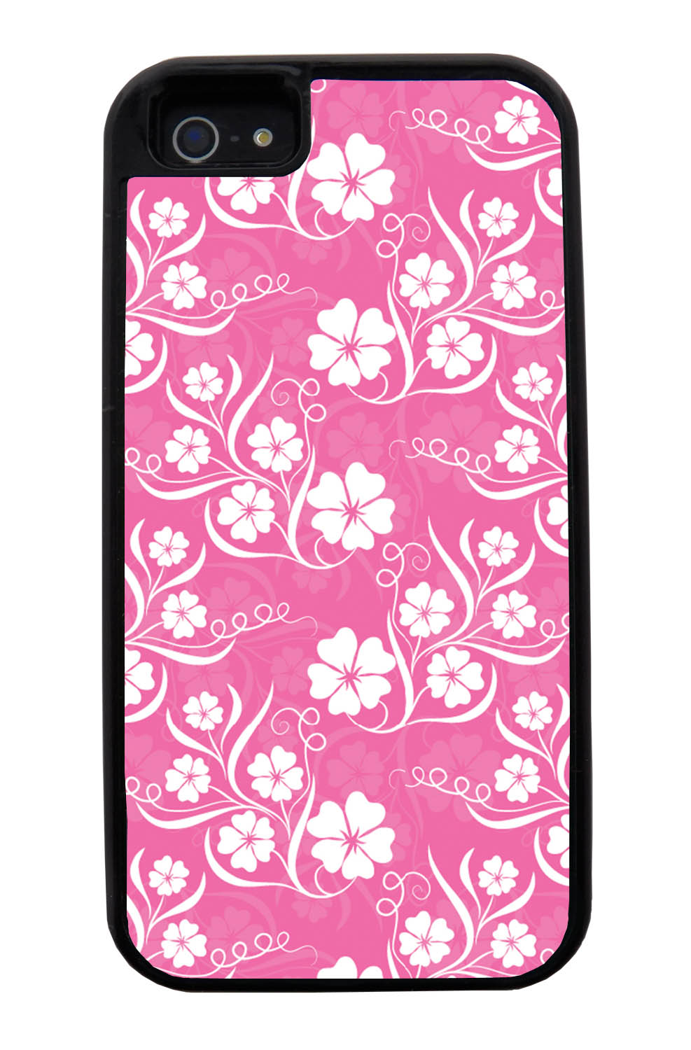 Apple iPhone 5 / 5S Flower Case - White on Pink - Stencil Cutout - Black Tough Hybrid Case