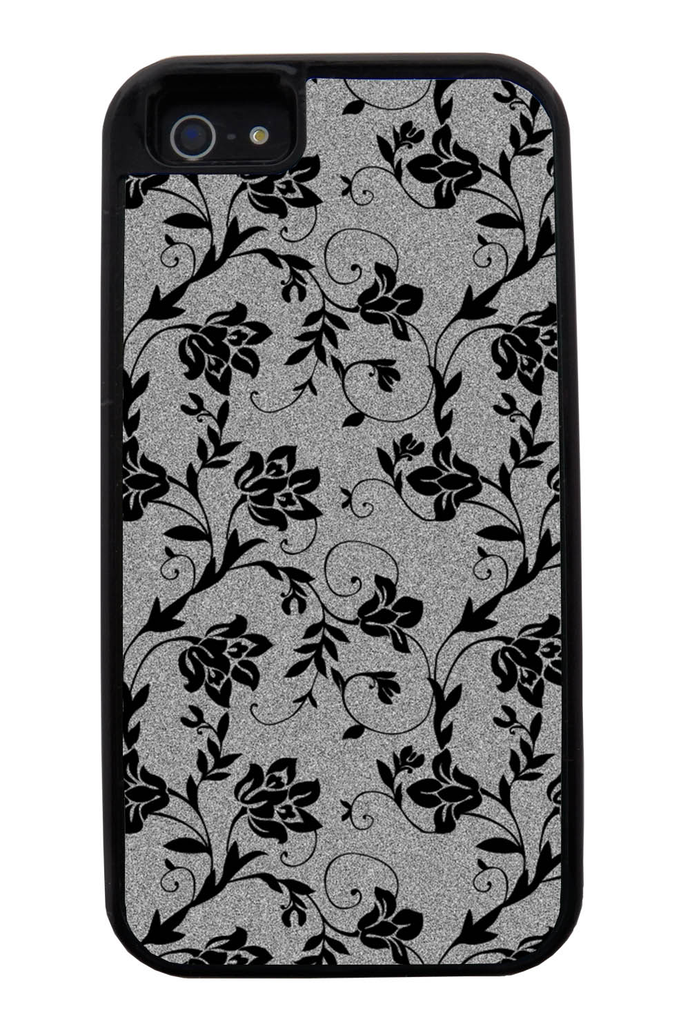 Apple iPhone 5 / 5S Flower Case - Black on Textured Grey - Stencil Cutout - Black Tough Hybrid Case