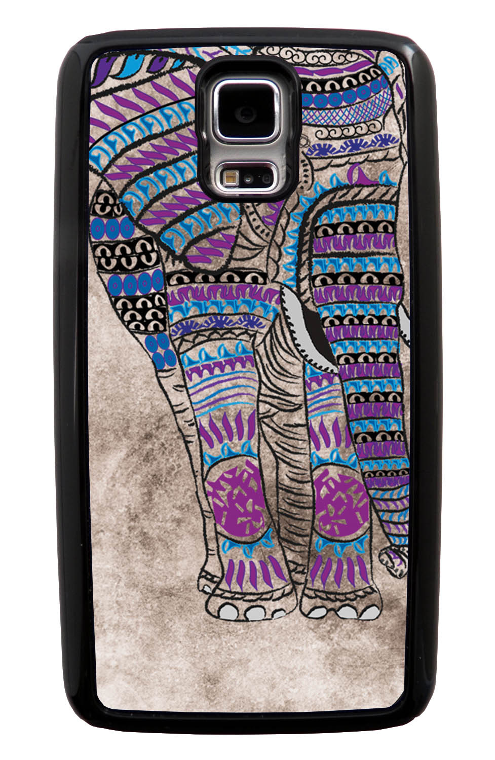Samsung Galaxy S5 / SV Aztec Case - Purple and Blue Charcoal Drawing - Tribal Elephant - Black Tough Hybrid Case