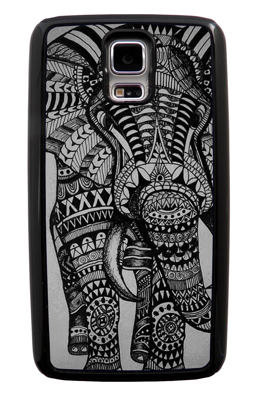 Samsung Galaxy S5 / SV Aztec Case - Pen Drawing on Grey - Tribal Elephant - Black Tough Hybrid Case