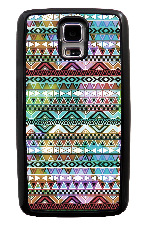 Samsung Galaxy S5 / SV Aztec Case - Colorful Neon Lights - Ceramic Glaze Like - Black Tough Hybrid Case