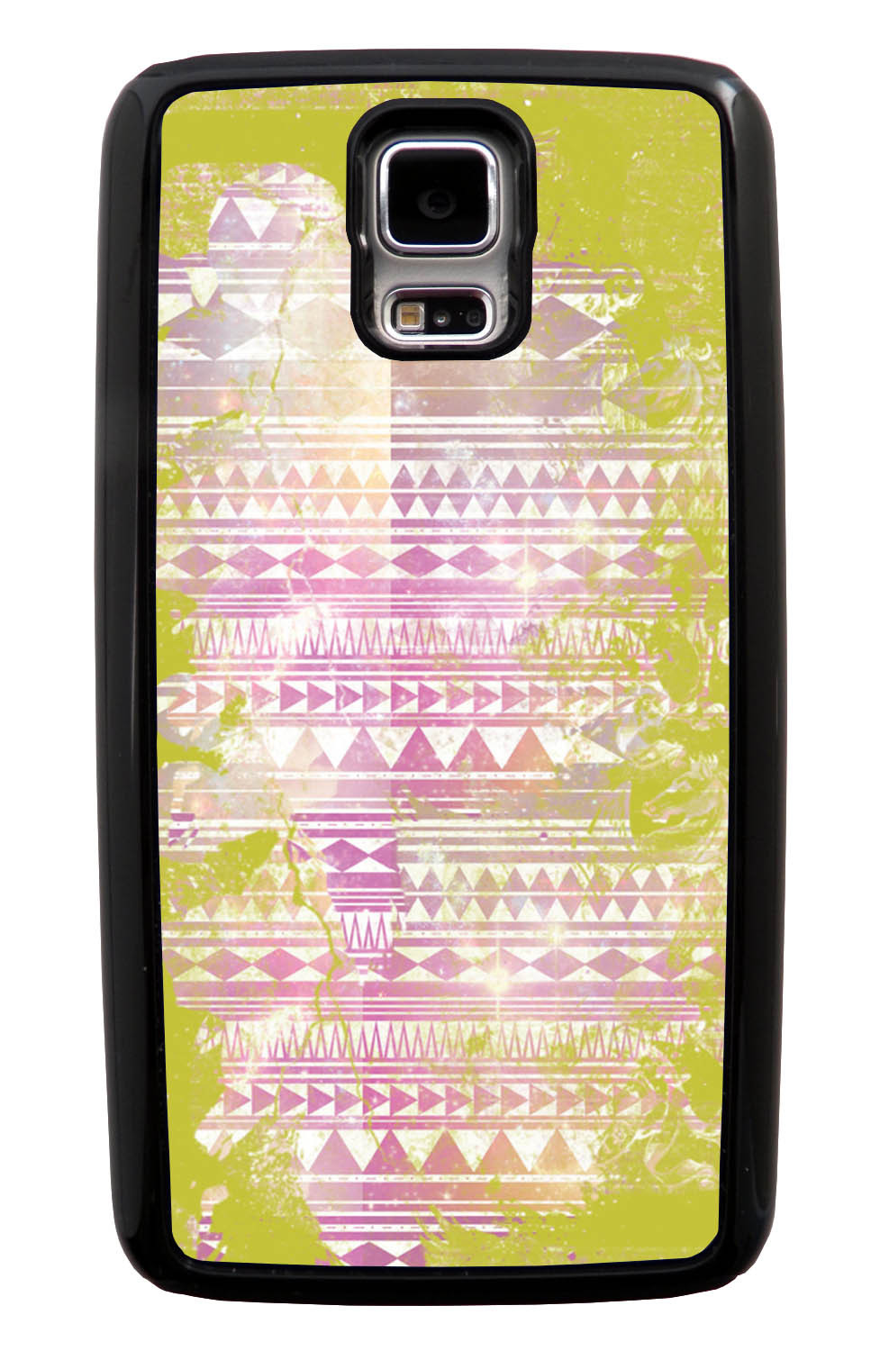 Samsung Galaxy S5 / SV Aztec Case - Yellow and White Paint with Pink - Paint Splatter Overlay - Black Tough Hybrid Case