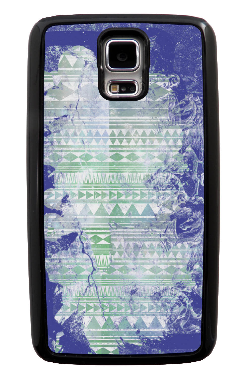 Samsung Galaxy S5 / SV Aztec Case - Purple and Off-White Paint with Green - Paint Splatter Overlay - Black Tough Hybrid Case