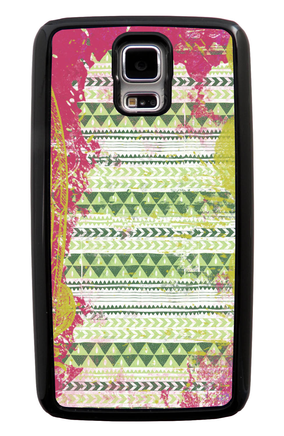Samsung Galaxy S5 / SV Aztec Case - Pink and Yellow Paint with Green - Paint Splatter Overlay - Black Tough Hybrid Case