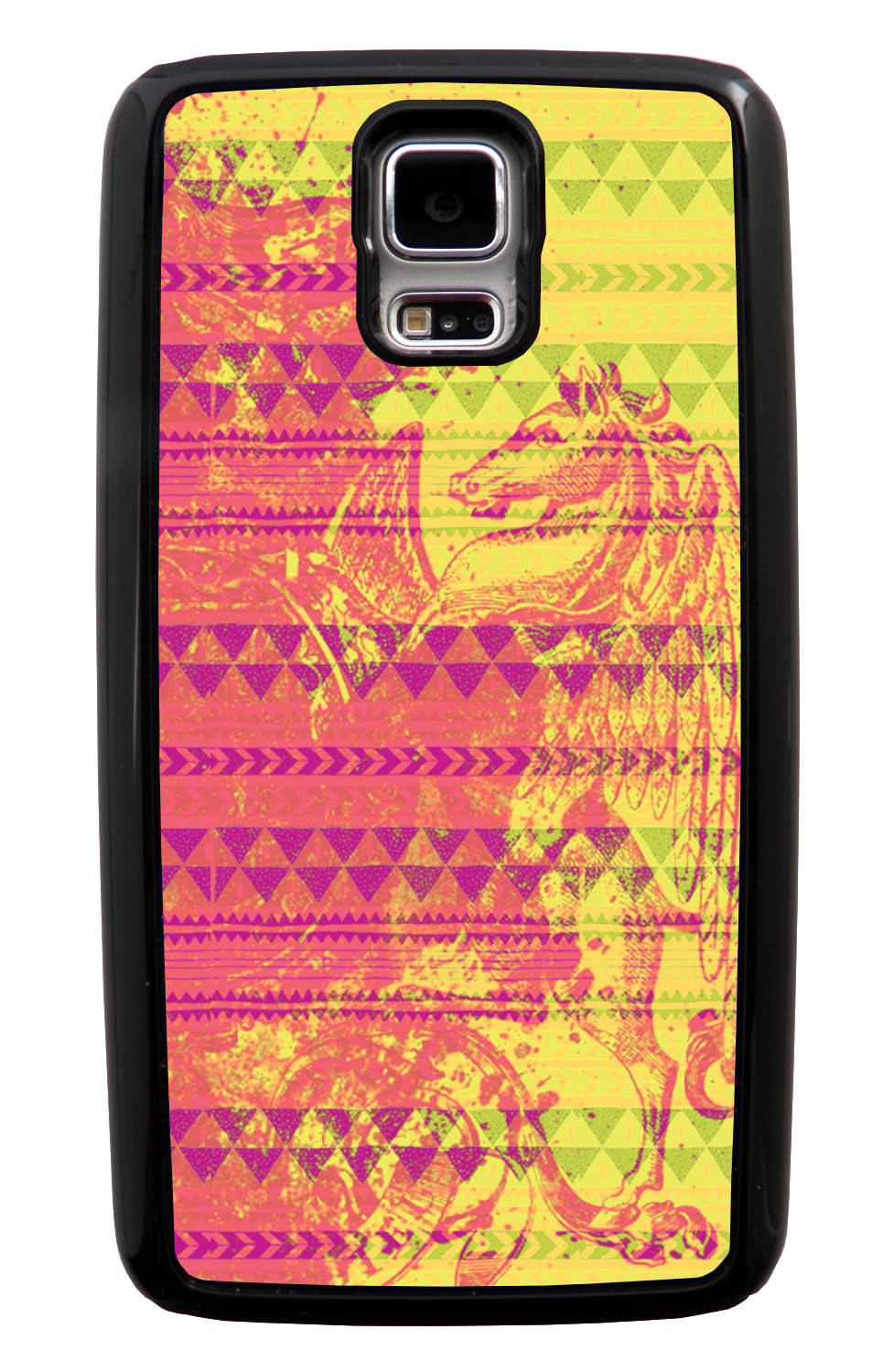 Samsung Galaxy S5 / SV Aztec Case - Pink Paint with Hot Pink, Yellow, and Green - Paint Splatter Overlay - Black Tough Hybrid Case