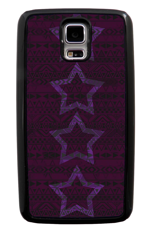 Samsung Galaxy S5 / SV Aztec Case - Purple Stars - Geometric - Black Tough Hybrid Case