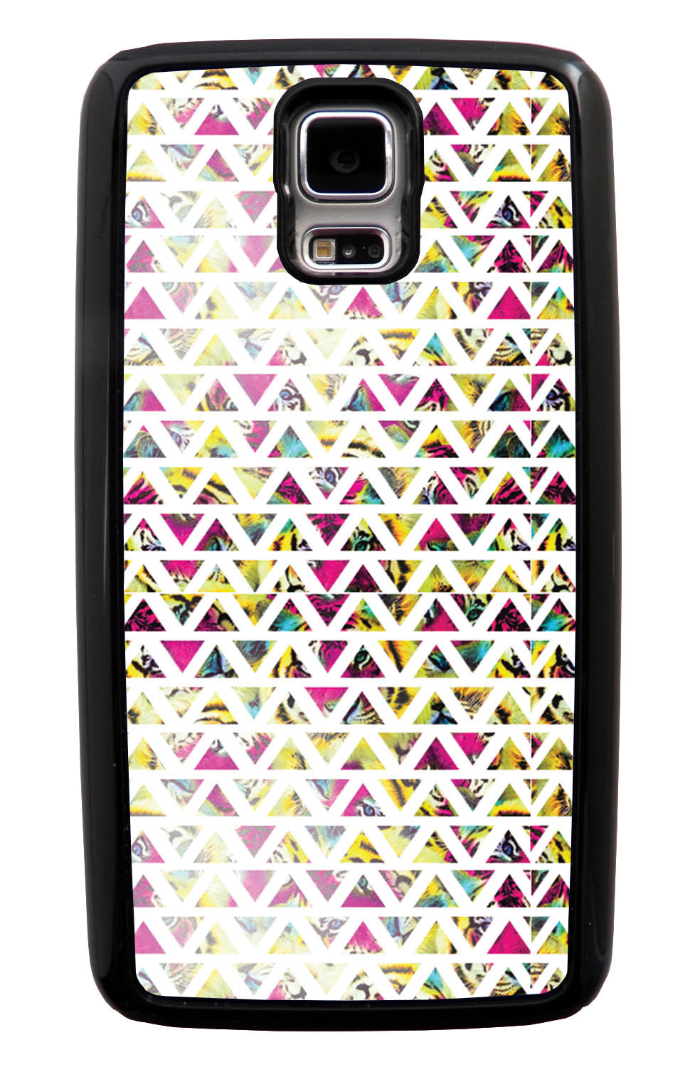 Samsung Galaxy S5 / SV Aztec Case - Triangles On Pink Yellow Tiger - Geometric - Black Tough Hybrid Case