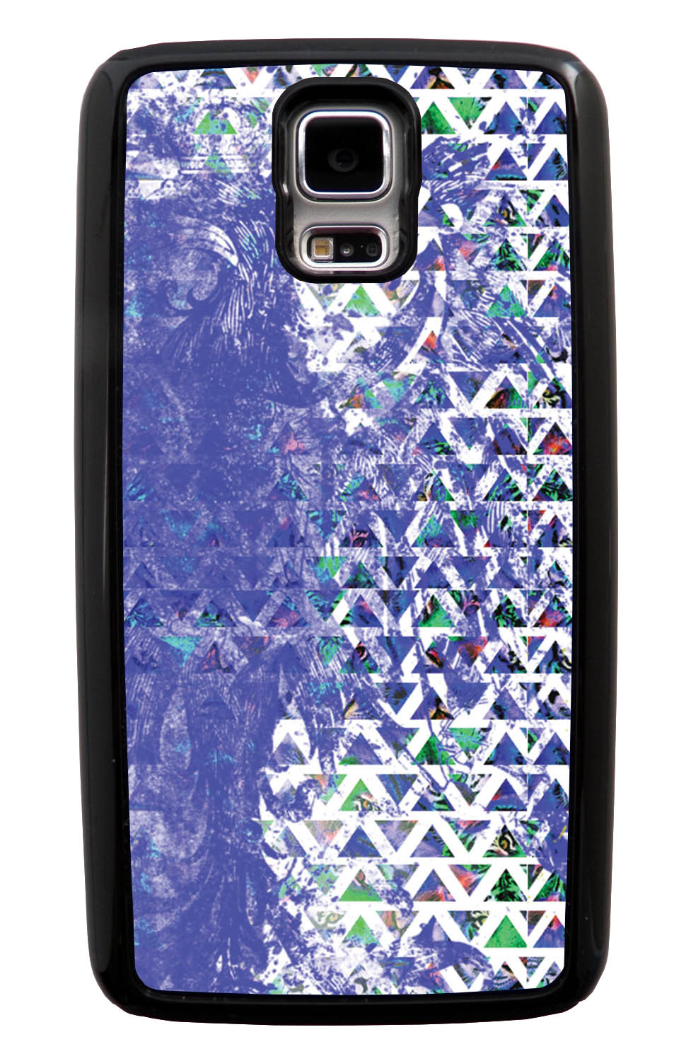 Samsung Galaxy S5 / SV Aztec Case - Purple Smear Paint with Green and White - Paint Splatter Overlay - Black Tough Hybrid Case