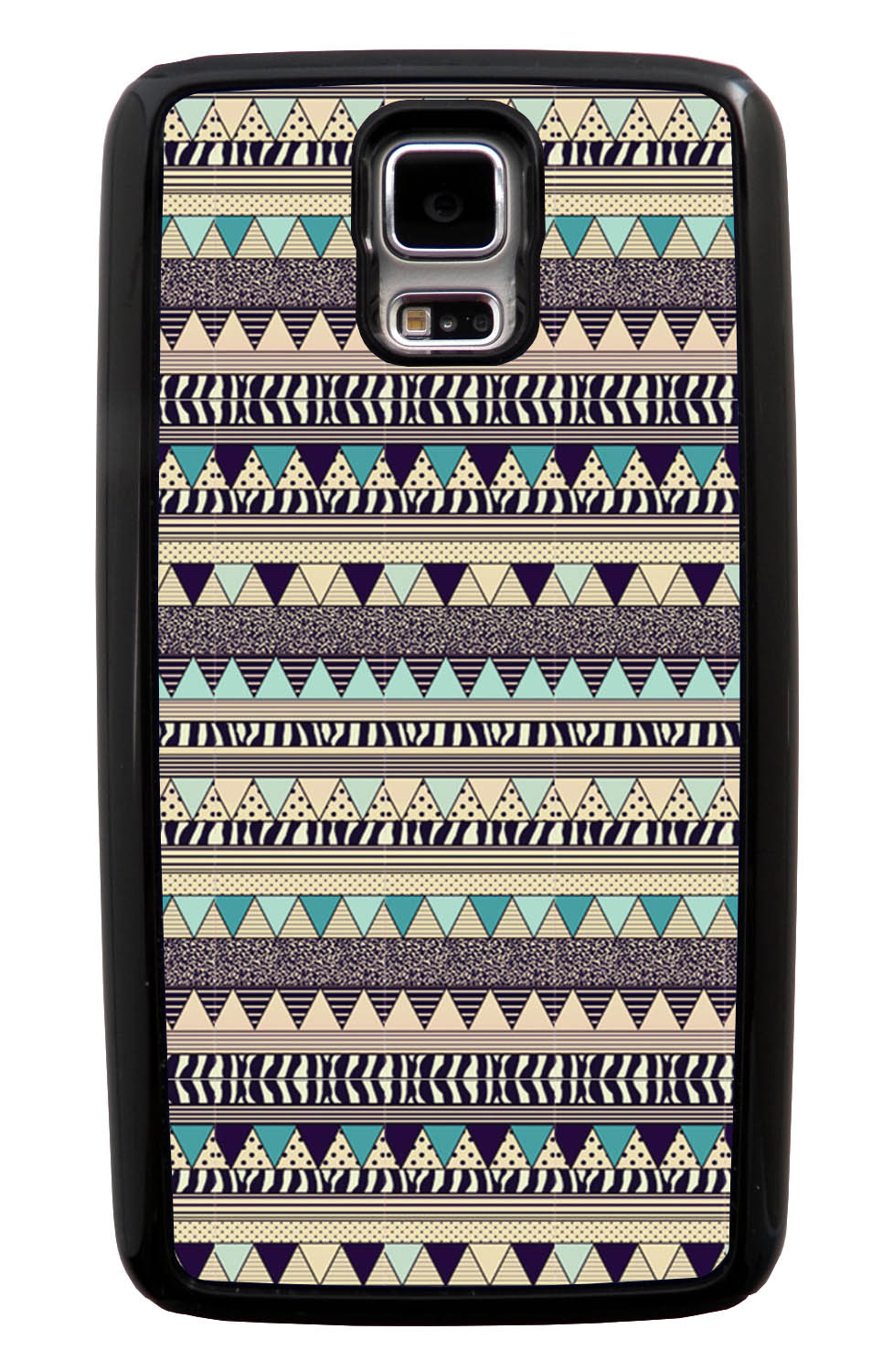 Samsung Galaxy S5 / SV Aztec Case - Textured Blue Beige - Geometric - Black Tough Hybrid Case