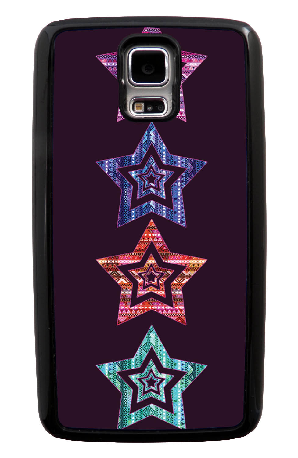 Samsung Galaxy S5 / SV Aztec Case - Patterned Stars - Geometric - Black Tough Hybrid Case