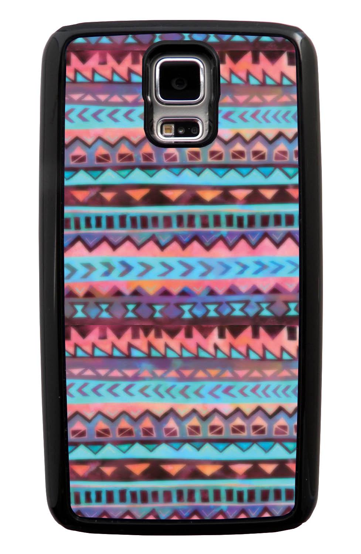 Samsung Galaxy S5 / SV Aztec Case - Pink and Purple Traditional - Ceramic Glaze Like - Black Tough Hybrid Case