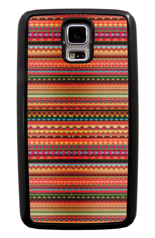 Samsung Galaxy S5 / SV Aztec Case - Bright Orange and Tortoise - Ceramic Glaze Like - Black Tough Hybrid Case