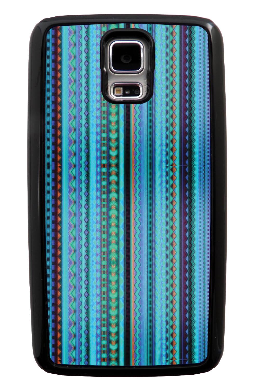 Samsung Galaxy S5 / SV Aztec Case - Neon Tortoise and Purple - Ceramic Glaze Like - Black Tough Hybrid Case