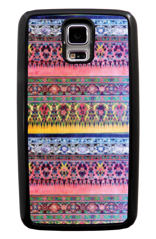 Samsung Galaxy S5 / SV Aztec Case - Winter Pink and Yellow - Ceramic Glaze Like - Black Tough Hybrid Case