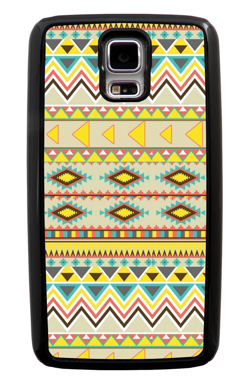Samsung Galaxy S5 / SV Aztec Case - Summer Colored - Geometric - Black Tough Hybrid Case